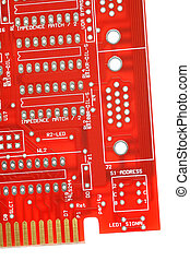 computer circuit - red computer circuitboard isolated on...