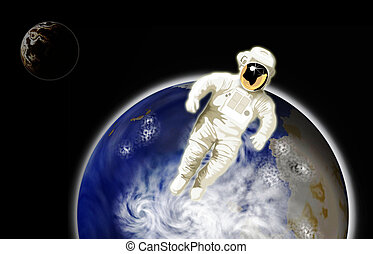 Astronaut with earth in background