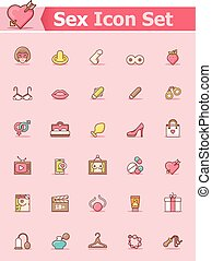 Sex icon set - Set of the sex related icons