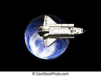 Space shuttle with earth - Illustration of a space shuttle...