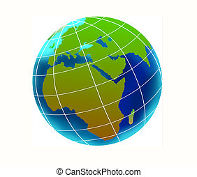 Globe showing African continent - Illustration of a Globe...
