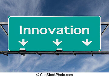 Freeway to Innovation Road Sign with Cirrus Clouds