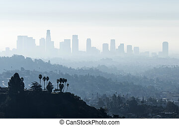 LA Smoggy Fog - Downtown Los Angeles with misty morning...