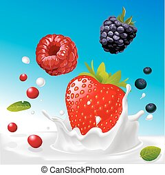 vector splash of milk with forrest fruit mix - illustration with blue background