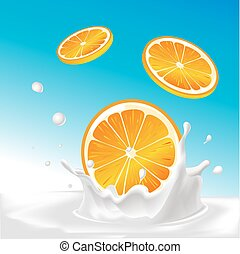 vector splash of milk with orange fruit - illustration with blue background