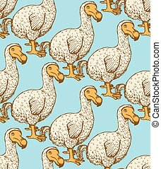 Sketch dodo bird in vintage style, vector seamless pattern