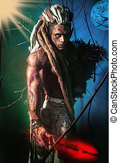 Muscular man with dreadlocks werewolf on a colorful...