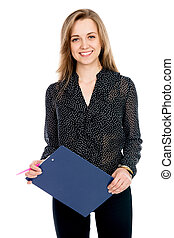 Beautiful cheerful business woman with tablet and pen for...