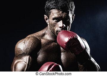 boxeo, muscular, C/, Boxeador, guantes, Fuerte, rojo, hombre...