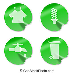 laundry,enery and water saving and recycling symbol -...