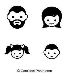 Family symbol - Set of four black family member face icons