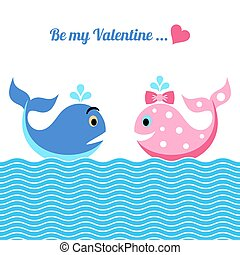 Valentine card with whales