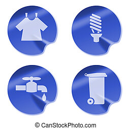 laundry,enery and water saving and recycling symbol