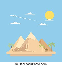 Flat design of pyramids Giza illustration vector