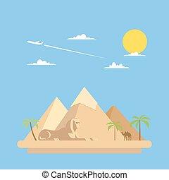 Flat design of pyramids Giza