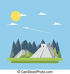 Flat design of Chichen Itza Mexico illustraion vector