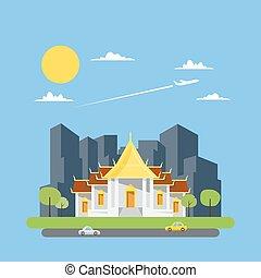 Flat design of Thai temple