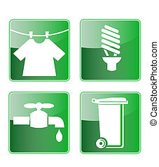 Laundry,energy saving,water and recycling symbols