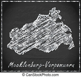 Map of Mecklenburg-Western Pomerania as chalkboard in Black...