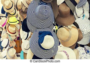 Retro, verano, sombreros, para, venta,