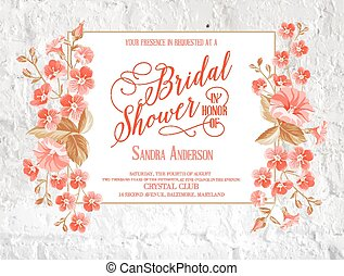 Bridal shower invitation. - Bridal shower invitation with...