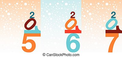 Snowflake New Year background - Illustrated set of different...