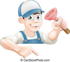 Plumber pointing at sign - A cartoon plumber with a sink...