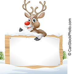 Reindeer Snowy Christmas Sign