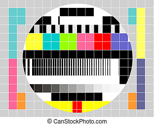 Retro TV multicolor signal test pattern - Illustration of a...