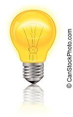 Light Bulb Realistic - Illuminated electric light bulb...