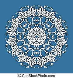 Abstract vector circle floral ornamental border Lace pattern...