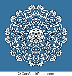 Abstract vector circle floral ornamental border. Lace...