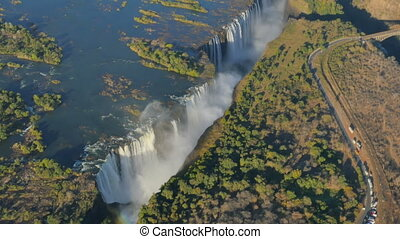 victoria falls aerial helicopter - aerial view of victoria...