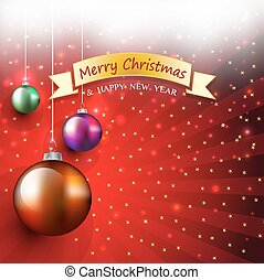 Christmas greeting card with bauble and ribbon bow