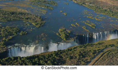 victoria falls aerial view - aerial view of victoria falls...