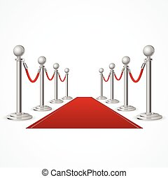 Vector red event carpet isolated on white