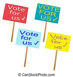 UK general election, placards for four main political...
