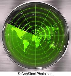 Green World Radar - The world map in a radar screen - blips...