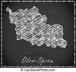 Map of Oder-Spree as chalkboard  in Black and White
