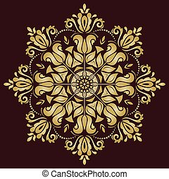 Floral Vector Pattern. Orient Golden Ornament - Floral...