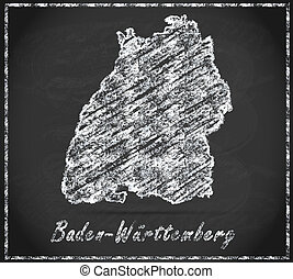 Map of Baden-Wuerttemberg as chalkboard  in Black and White