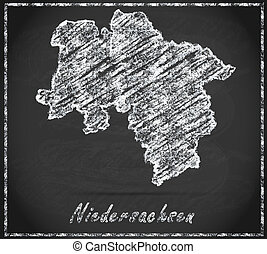 Map of Lower Saxony as chalkboard  in Black and White