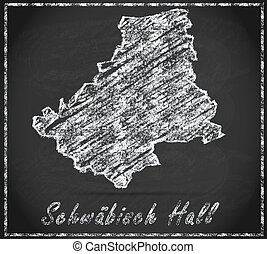 Map of Schwaebisch-Hall as chalkboard  in Black and White