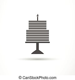 Vector Birthday Cake Icon - Vector Illustration of a...