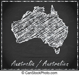 Map of Australia as chalkboard  in Black and White