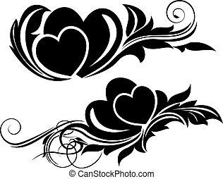 Valentine day floral design element - Vector illustration of...