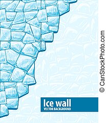 Ice wall - Vector illustration of blue ice ice wall...