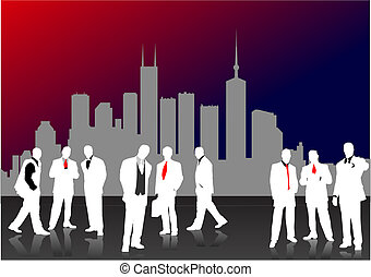 Nine Business people  silhouettes