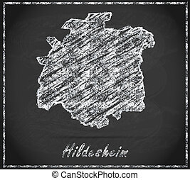 Map of Hildesheim as chalkboard  in Black and White