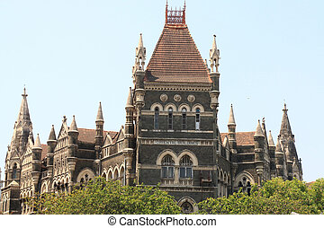 old colonial style building mumbai india - high court mumbai